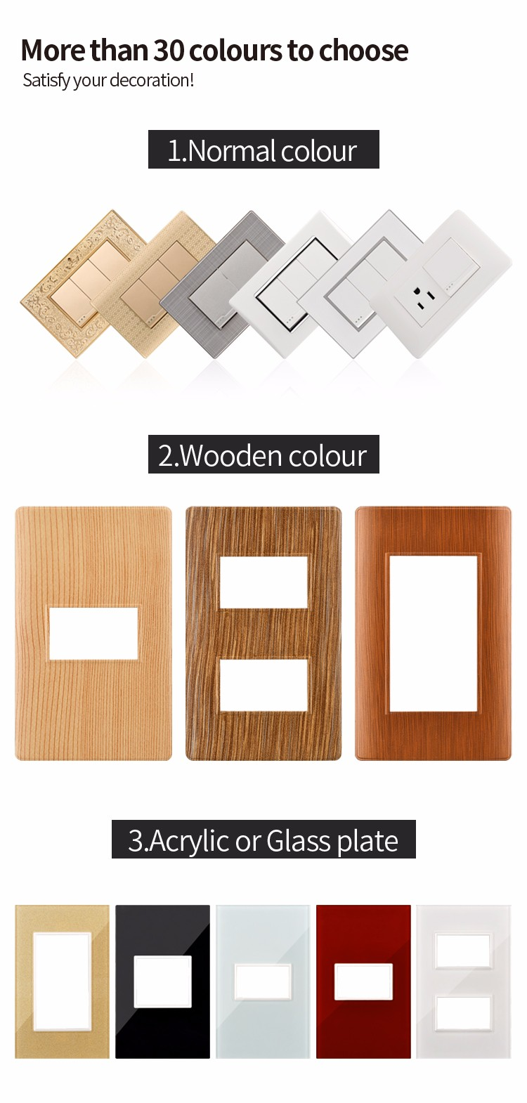 New Design 110v American Style Hotel 3 Gang 2 Way Electric Glass Light Switch Plate Wall Covers Cover Brand Brands For Home