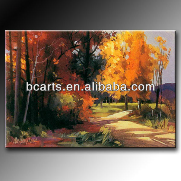 Handmade Beautiful Natural Scenery Art Painting on Canvas, Landscape Oil Painting on Canvas of Autumn Trees Home Wall Decoration