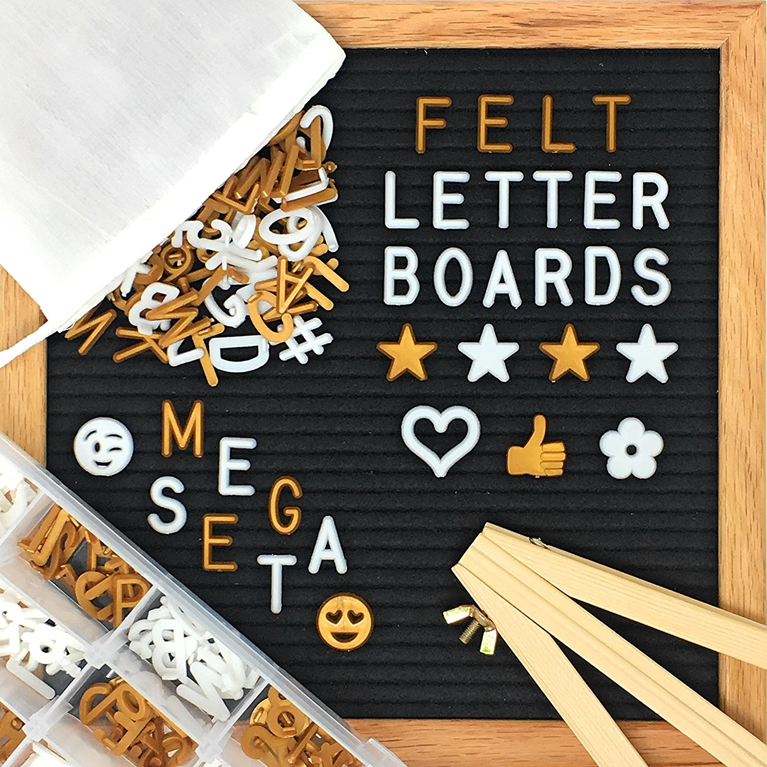 "Changeable Felt Letter Board MEGA SET with 700+ White and Gold Letters + Letter Organizer + Letter Pouch + Wooden Easel (GIFT SET, 10"" x 10"")"