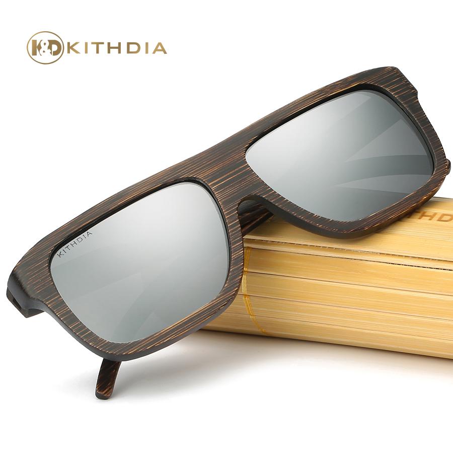 3c22bac42 Kithdia Marca Artesanal De Madeira Polarizada óculos de Sol Das Mulheres  Dos Homens De Bambu Quadrados