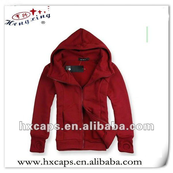 Men's blank hoodies /zipper red hoodie cotton jacket