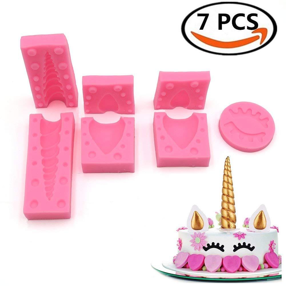 """3.7"""" Unicorns Cake Mold Silicone Cake Mold Unicorn Horn, Ears and Eyelash Cake Decoration Molds for Fondant Chocolates DIY Cake Cupcake Toppers (7 Sets)"""
