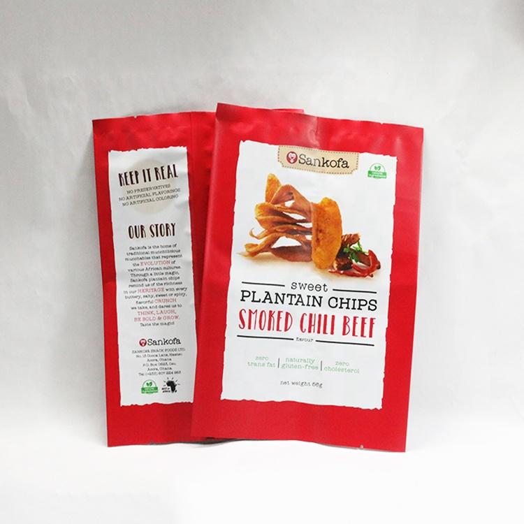 Klar resealable kartoffel chip tasche