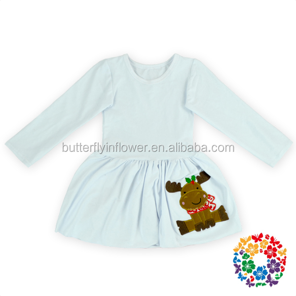 trendy boutique warm winter long sleeve cotton christmas reindeer kids clothing wholesale