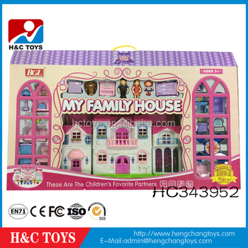 Happy Family Doll House Kids Plastic Toy Doll House Furniture HC343952