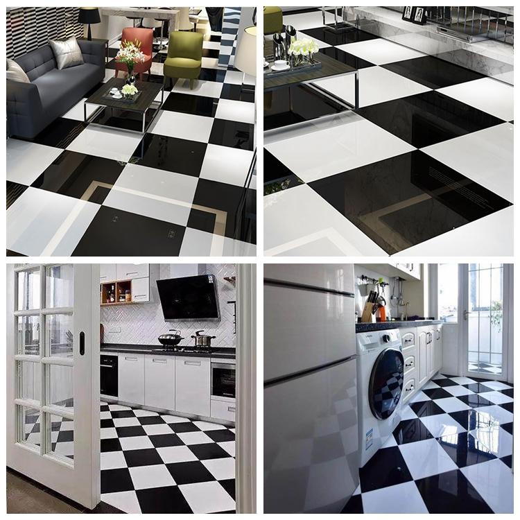 Baldosas de suelo para hotel de 5 estrellas, fáciles de limpiar, azulejo de cerámica blanco y negro para Cocina