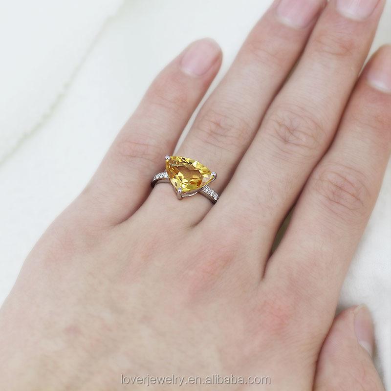 Trillion Citrine Diamond Ring 18kt White Gold Yellow For Wu103