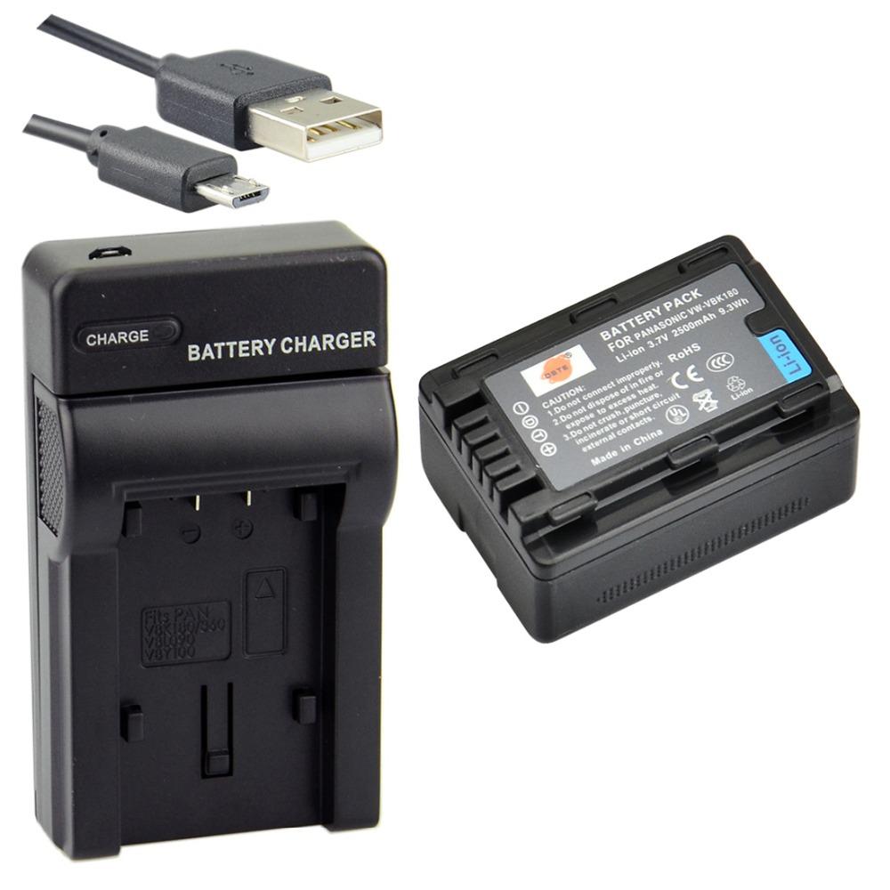 DSTE Литий-Ионная Аккумуляторная Батарея + UDC106 USB Порт Зарядное Устройство Для Panasonic VW-VBK180 HDC-SD40GK HDC-SD60GK DR-SX1GK SDR-H85G HC-V700GK Камеры