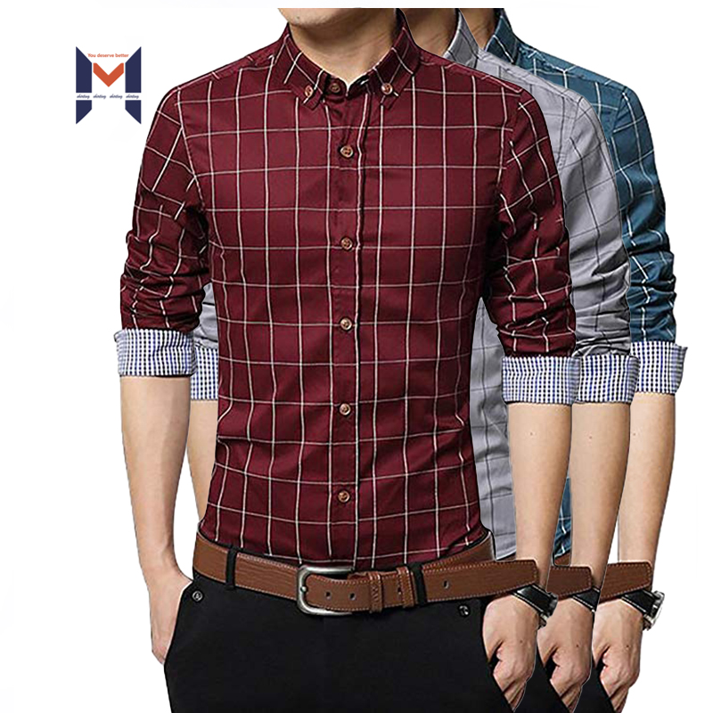 Long Sleeve Wine Red <strong>Shirts</strong> Fancy Plaid Cotton <strong>Shirt</strong> For Men