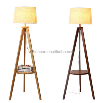 solid wood tripod Walnut floor lamp with shade