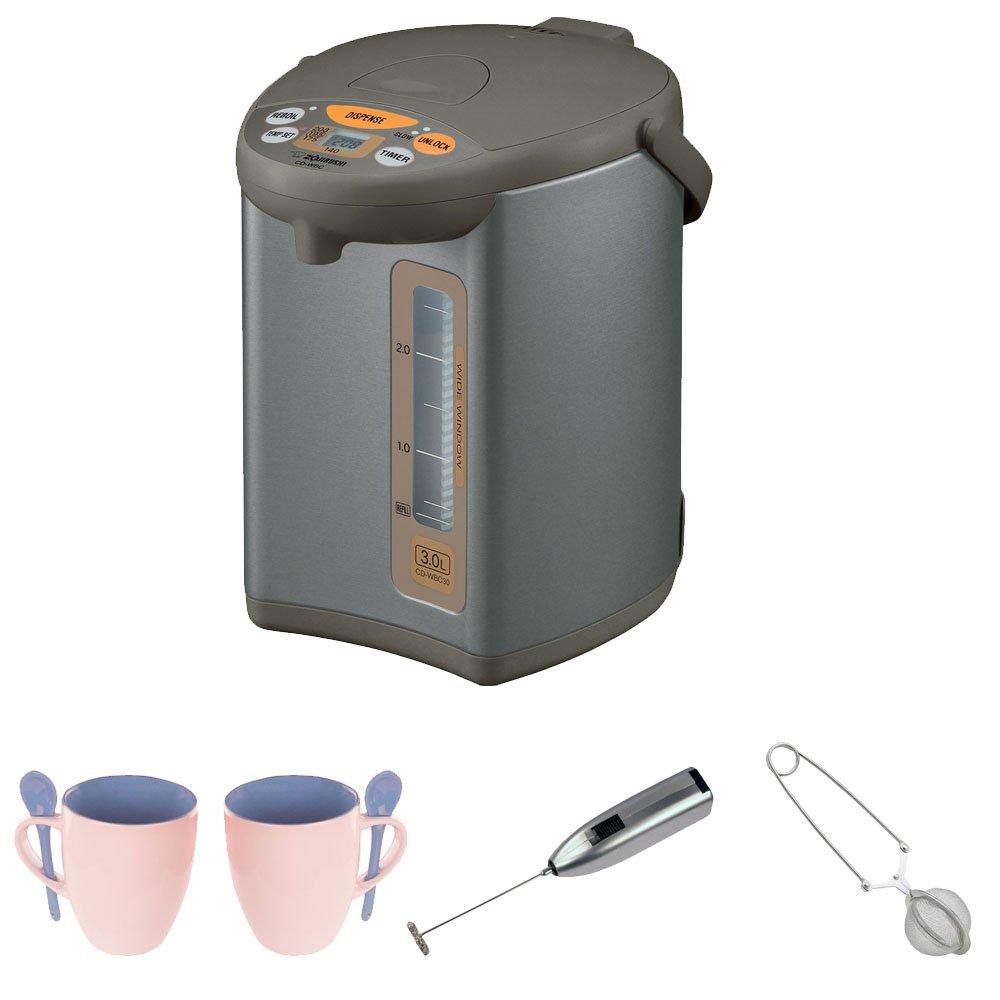 Zojirushi CD-WBC30-TS Micom 3-Liter Water Boiler and Warmer + Knox 16oz. Mug With Spoon (2 Pack) + Knox Handheld Milk Frother + Mesh Tea Ball Infuser