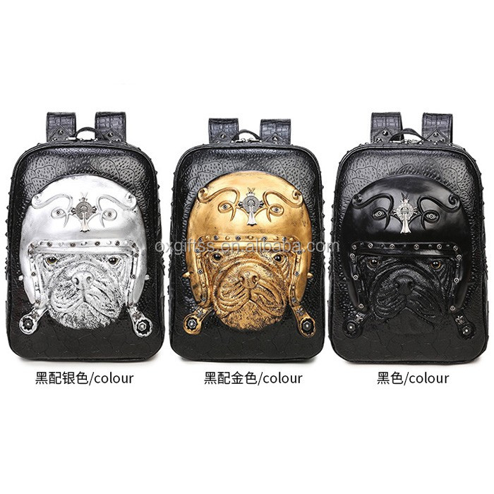 OXGIFT China Supplier Wholesale Manufacturing Factory Price Amazon  waterproof cartoon animal 3D Shoulder Pugs pu backpack a8e2994f781cd
