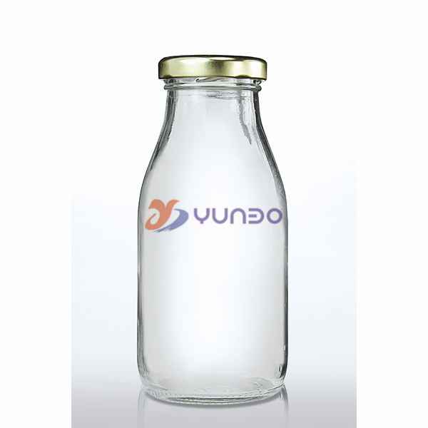 Beautiful 250ml Clear Glass Juice Bottles With Metallic