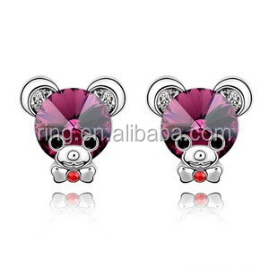 Korean New Fashion Upscale Small Cute Crystal Baby Bear Sweet Stud Earrings
