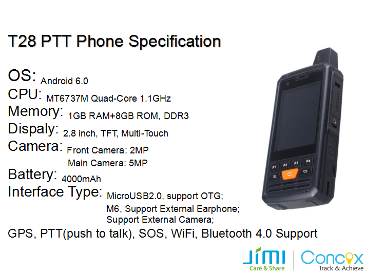 Jimi T28 real poc ptt Two way radio android smart phone GPS track