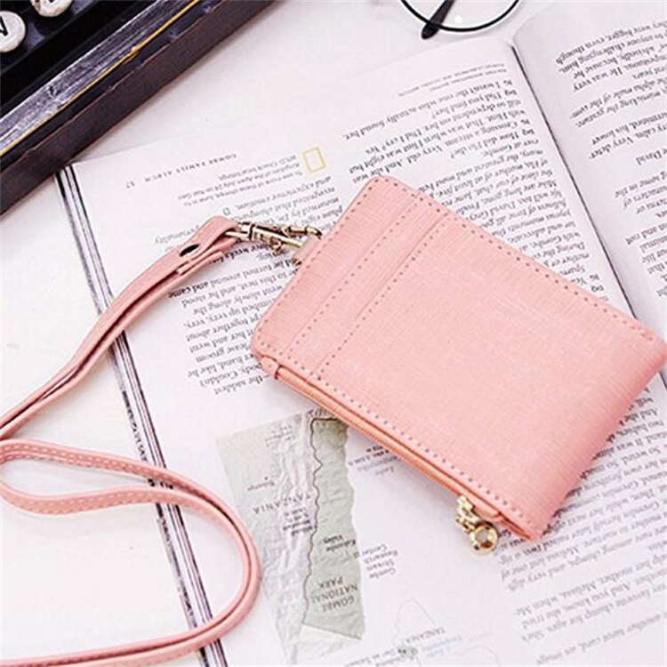 Badge Holder with Zipper, PU Leather ID Badge Card Holder Wallet with Neck Lanyard