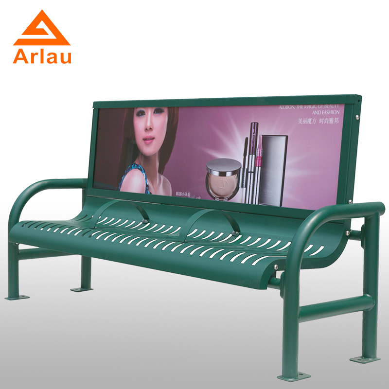 steel advertisement bench