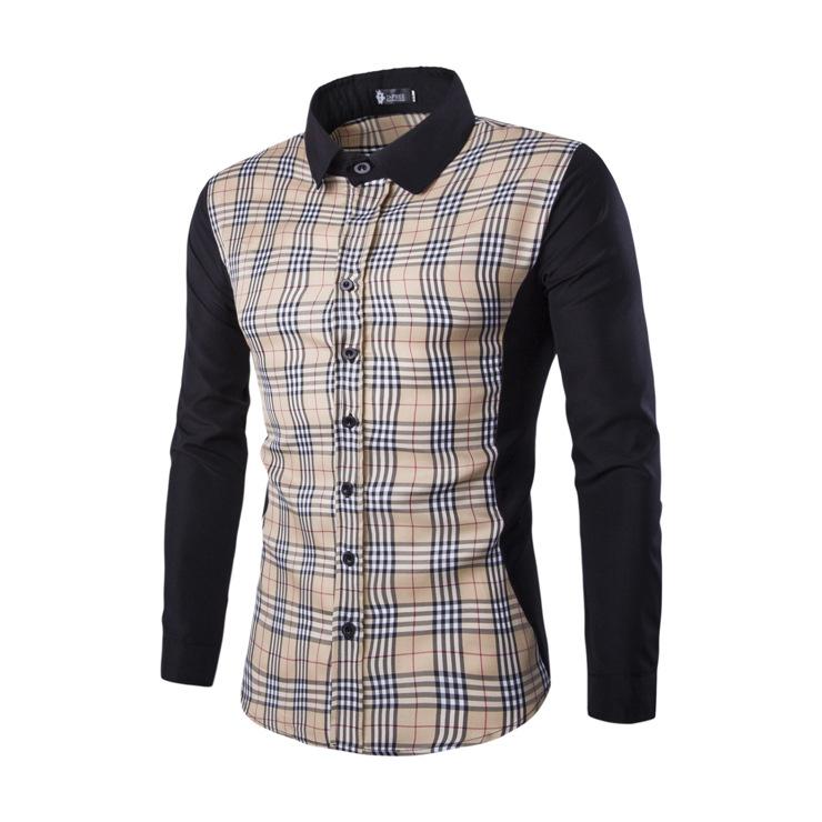 ec0061581617 2016 spring fashion mens plaid shirts long sleeve patchwork shirts social  slim fit chemise homme size