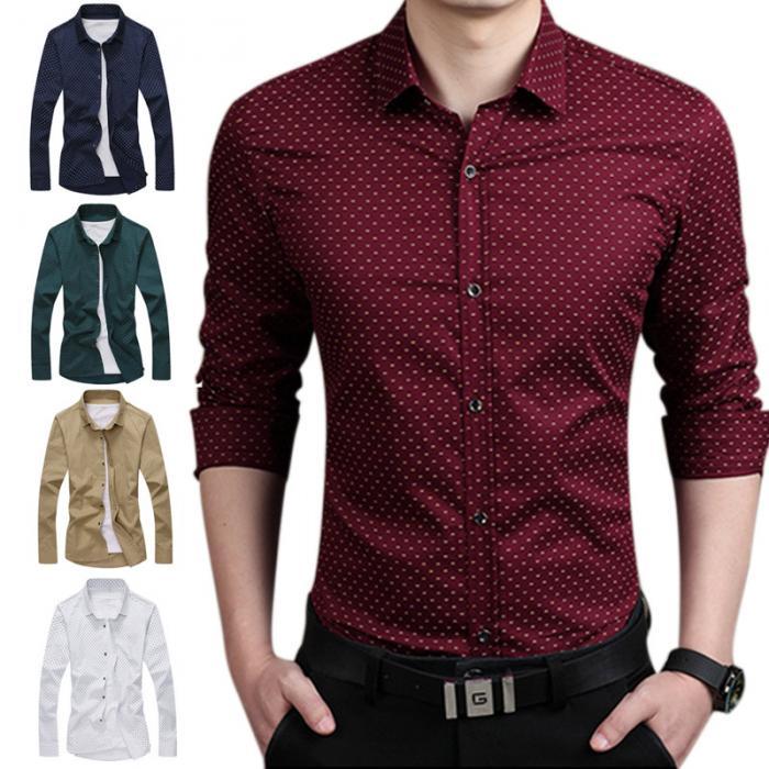 6ab96c431911348 Демисезонный для мужчин рубашка повседневное Slim Fit с длинным рукавом  горошек женские рубашки с цветочным принтом плюс размеры 5XL FS99