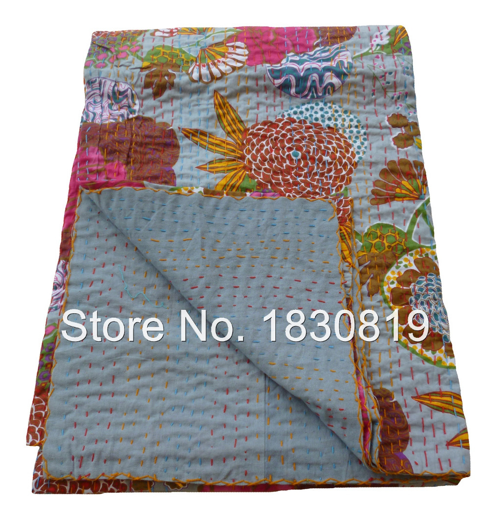 Indian Kantha Quilt, Floral Kantha Rallies, Reversible Bedspread (KING Size, 100% Premium Quality) Modern Home Decor.