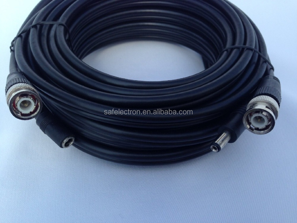 100' High Quality Premade White CCTV RG59 Siamese Cable