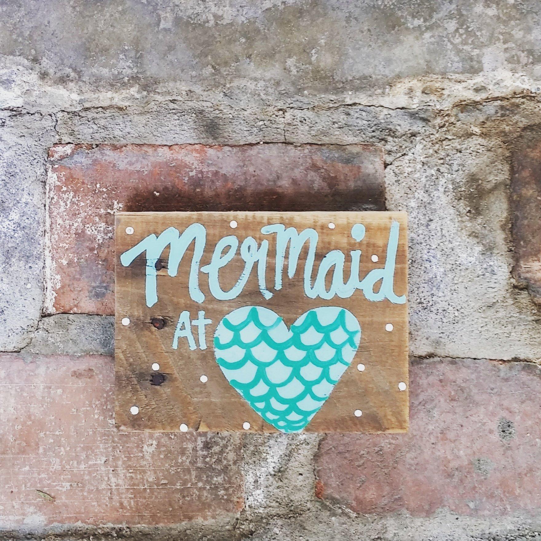 Mermaid At Heart Wood Pallet Sign, Mermaid Pallet Sign, Mermaid At Heart, Mermaid Wood Sign, Mermaid Sign, Pallet Sign, Reclaimed Wood Sign, Mermaid Decor