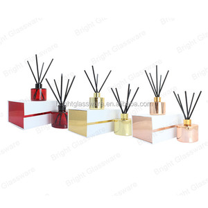 custom luxury design 100ml color plating empty reed glass diffuser perfume bottle bottle with gift box package