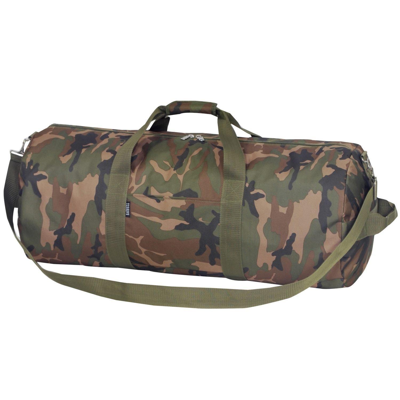 Dark Green Tan Brown Black Camouflage Army Theme School Gym Duffel Bag, Boys Camo Hunters Hunting Themed Sleepover Travel Duffle