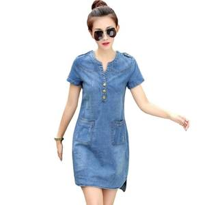ZH2583G New arrival summer women denim dresses short sleeves loose A word dresses plus sizes v-neck solid denim dresses