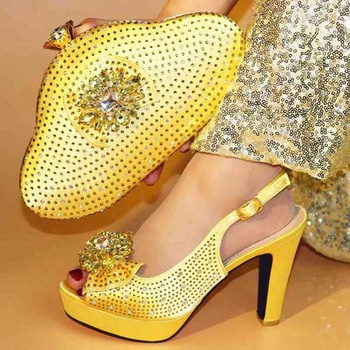AB7754 shoes women high heel African women matching shoe and bag set woman for party