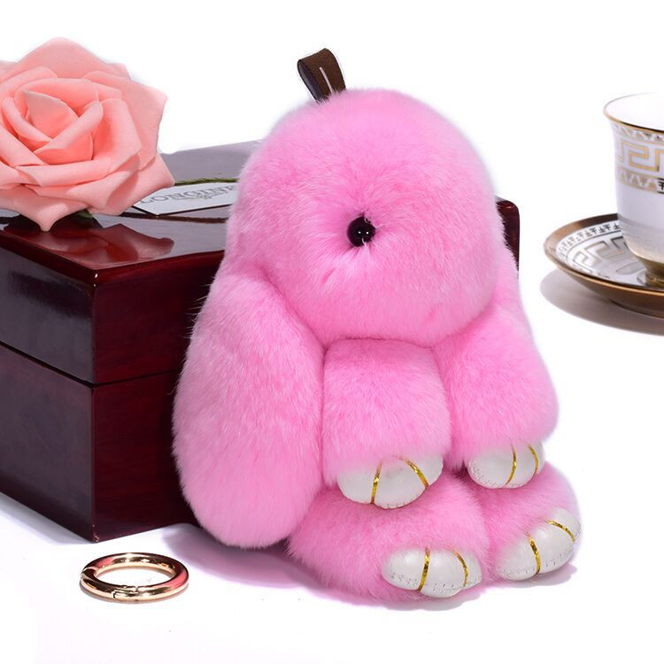 Wholesale Animal Rabbit Fur Keychain Child <strong>Gifts</strong> <strong>Cute</strong> Bag Plush Key Chain for Women