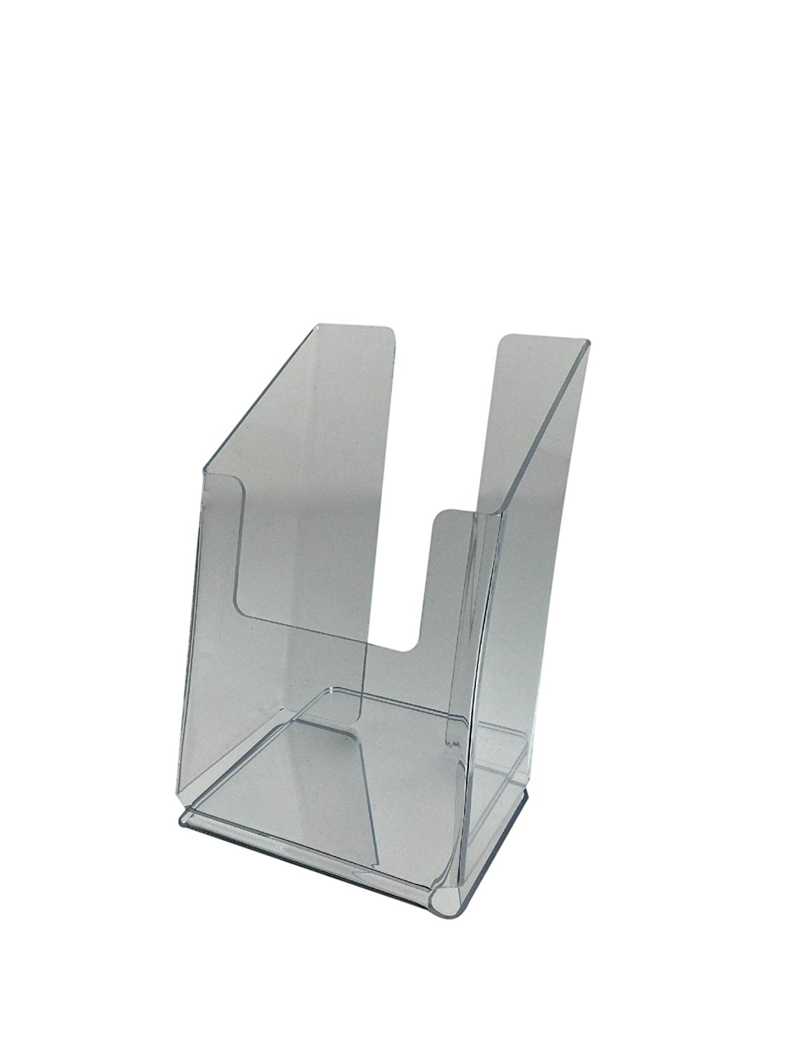 Brochure Holder for 4 X 9 Tri-fold Literature, Clear Acrylic, Single Pocket, Slant Back Free Standing Design - Sold in Lots of 10