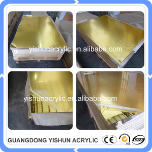 wholesale excellent reflection gold color plastic mirror acrylic sheet plexiglass mirrored sheet