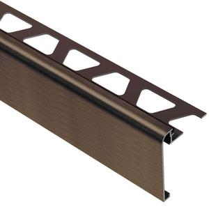 Brown satin aluminum tile edge protection trim