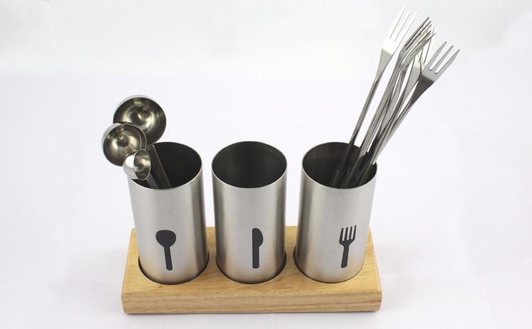 3- Piece for Kitchen Countertop Flatware Organizer Caddy with Wood Base SUS304 Stainless Steel Cutlery Utensil Holder