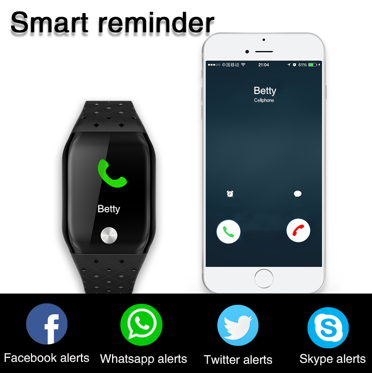DFB59  1.3 inches IPS color smart watches health tracker equipped with 3 axes motion accelerometer sensor with message alerts