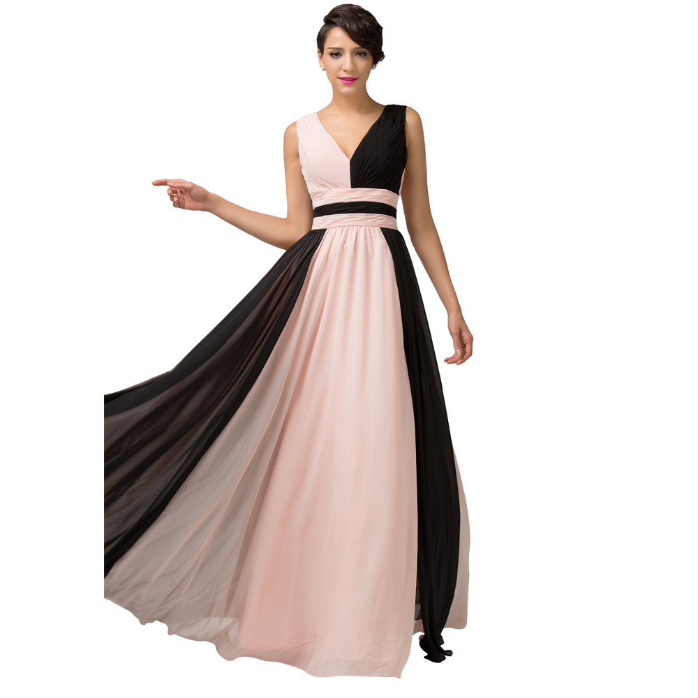 Get Quotations · Grace Karin Evening Dresses 2015 Black   Pink Orange    Yellow Formal Dresses Double V 15cb6aa9be25