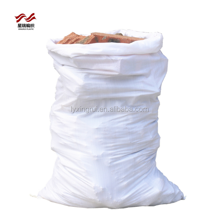 Heavy duty white 50kg pp woven rubble sacks bag for construction waste