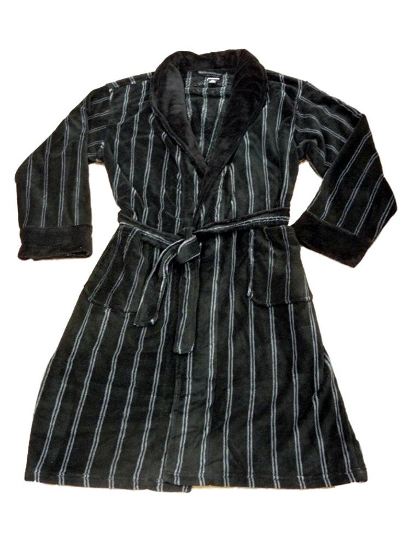 e5d04eba3d Get Quotations · Joe Boxer Mens Plush Black   White Striped Robe Housecoat  Bath Robe