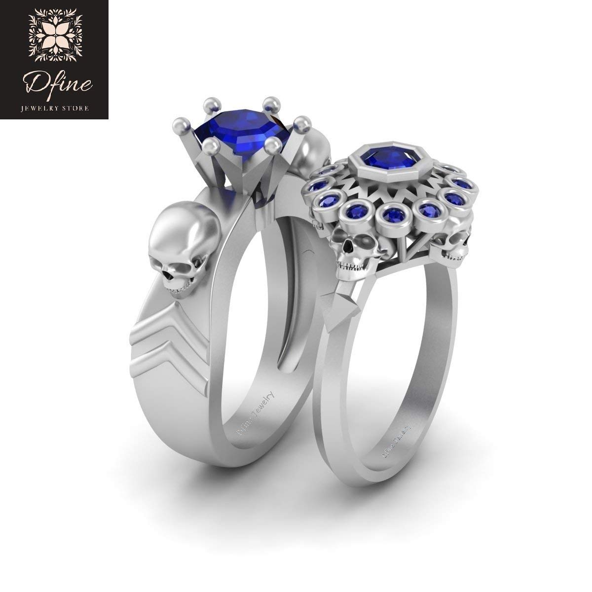 246df76f47 Octagon Cut Sapphire Blue Skull Wedding Ring Band Set Matching Gothic Couple  Rings Solid 14k White