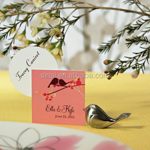 Wedding Love Bird Place Card Holders with Brushed Silver Finish