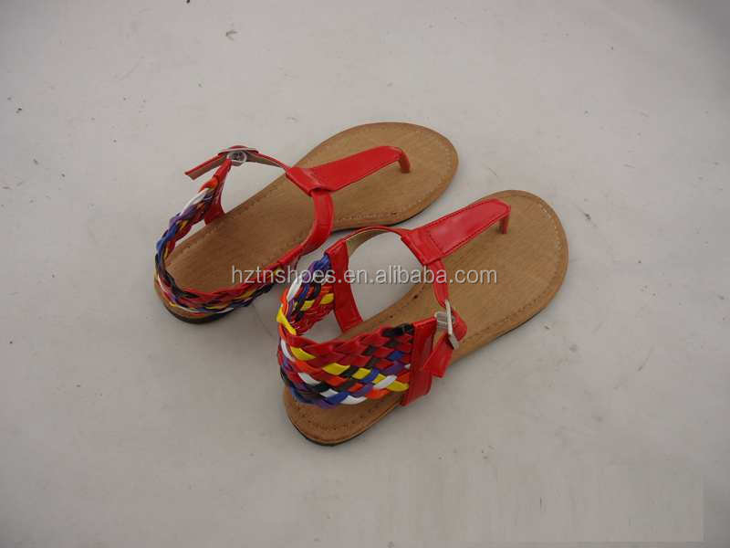 Dubai stylish roman women flat shoe covers braided sandals with female colorful weave straps ladies sandals 2016