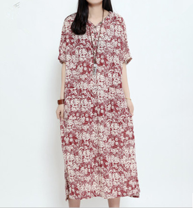 ce43e3c7709 Get Quotations · High Quality New Fashion Women Summer 2015 Flower Print  Dress Plus Size M-XXL Mid