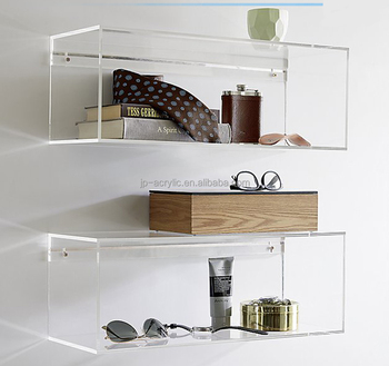 Clear Acrylic Wall Mount Cube Shelves Lucite Hanging Book Shelf Display Rack Product On