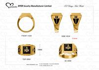 unique 3D design masonic ring gold mens jewelry