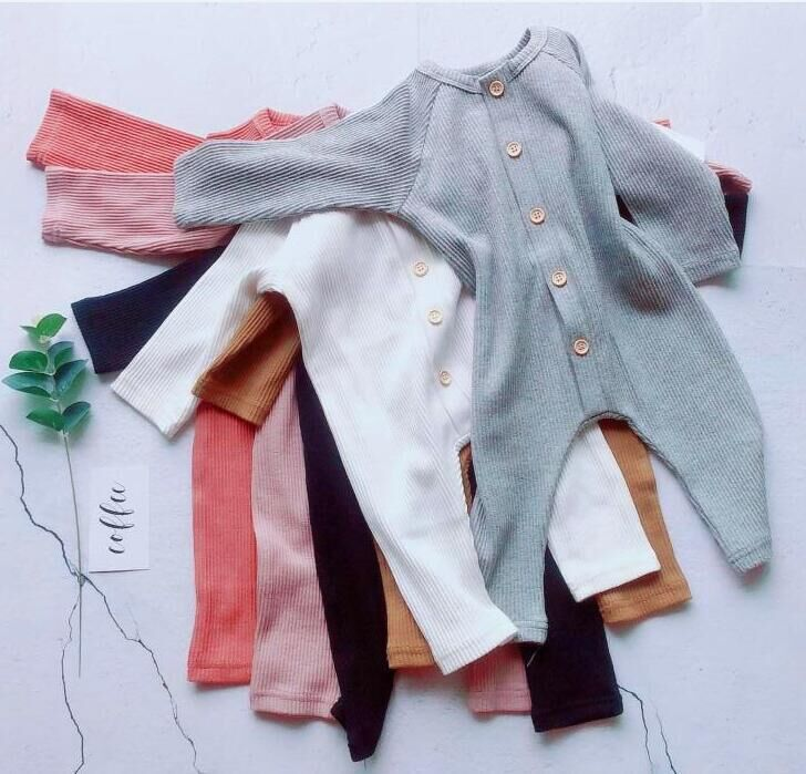 Wholesale 0-3 Years baby bodysuit long sleeve rib cotton baby knitted rompers