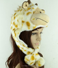 faux fur animal hat hood with paws/plush animal head hats