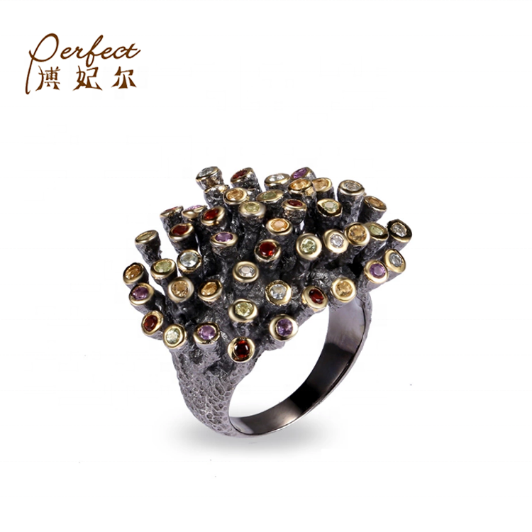 한 수 제 Coral 925 Sterling Silver Gemstone Coral Black 링/Gemstone Sterling Silver Rings Yellow