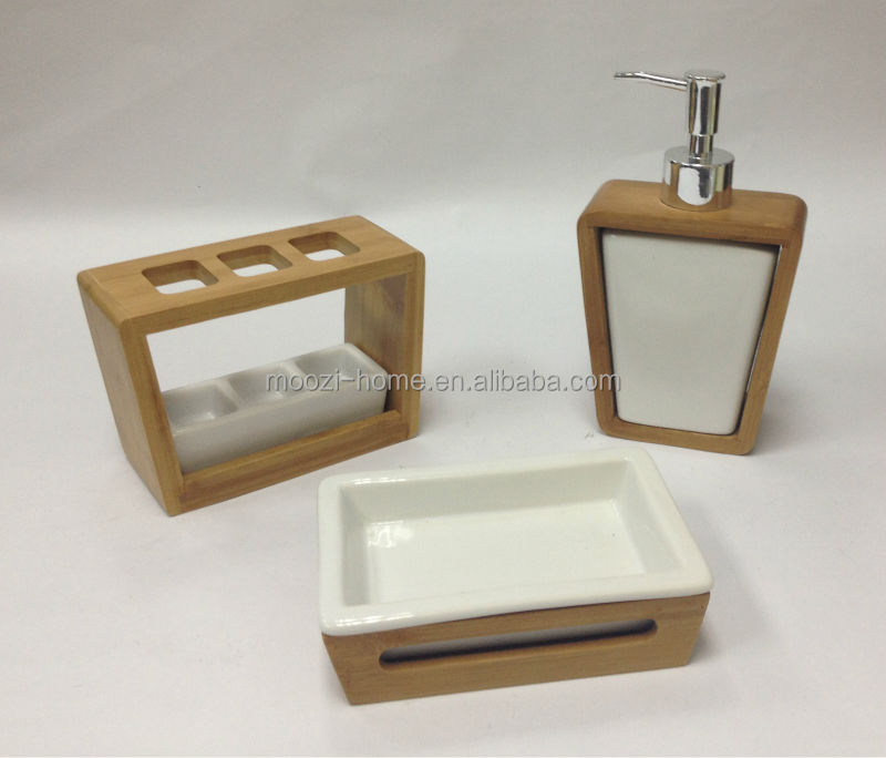 Bathroom Accessories Bamboo wood and bamboo bathroom accessories set,bamboo tissue box,wood