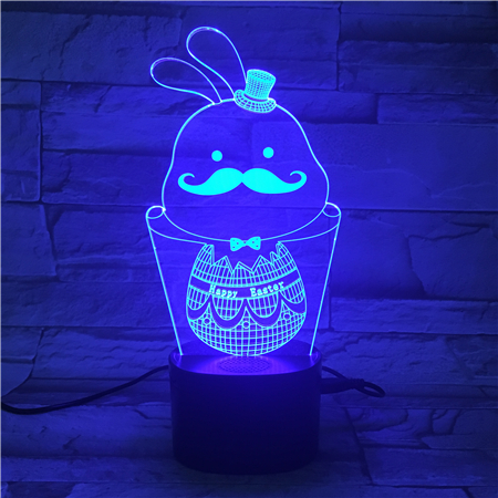 KS 3D-590 Cute Bunny 3D LED night light lamp for Easter Holiday Gifts
